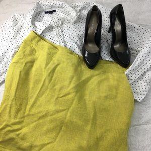 Neon Yellow & Tan Linen Texture Pencil Skirt